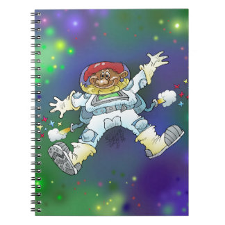 Cartoon illustration, of a space gnome, notebooks. spiral notebook