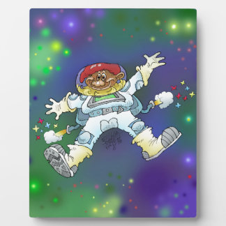 Cartoon illustration, of a space gnome, plaques. plaque