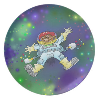Cartoon illustration, of a space gnome, plates. melamine plate