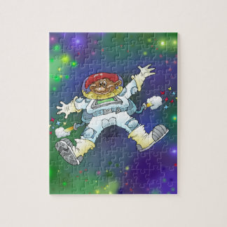 Cartoon illustration, of a space gnome, puzzle. jigsaw puzzle