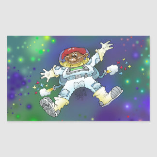 Cartoon illustration, of a space gnome. rectangular sticker