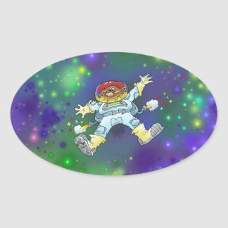 Cartoon illustration, of a space gnome, sticker. oval sticker