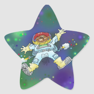 Cartoon illustration, of a space gnome, sticker. star sticker
