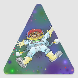 Cartoon illustration, of a space gnome, stickers. triangle sticker