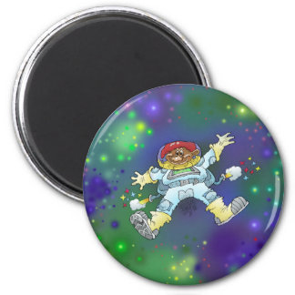 Cartoon illustration of a spaceman on a badge. magnet