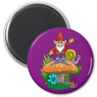 Cartoon illustration of a standing waving gnome. 2 inch round magnet