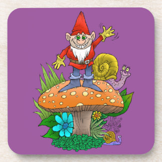 Cartoon illustration of a standing waving gnome. coaster