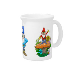 Cartoon illustration of a standing waving gnome. drink pitcher