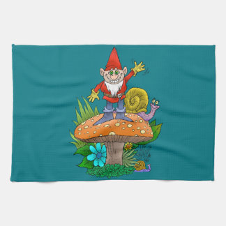 Cartoon illustration of a standing waving gnome. hand towel