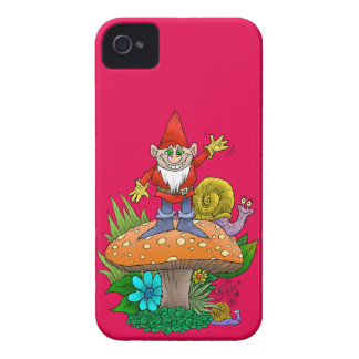 Cartoon illustration of a standing waving gnome. iPhone 4 case