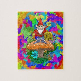 Cartoon illustration of a standing waving gnome. jigsaw puzzle