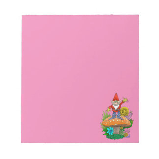 Cartoon illustration of a standing waving gnome. notepad