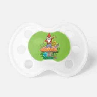 Cartoon illustration of a standing waving gnome. pacifier