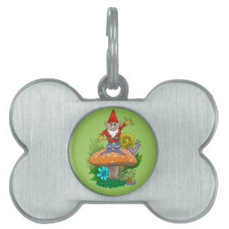 Cartoon illustration of a standing waving gnome. pet ID tag