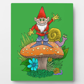 Cartoon illustration of a standing waving gnome. plaque