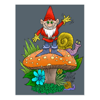 Cartoon illustration of a standing waving gnome. postcard