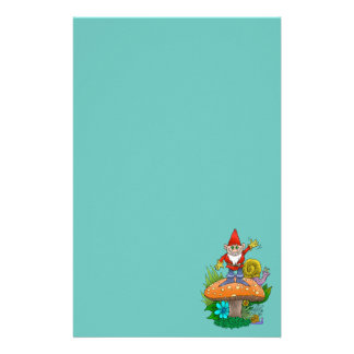 Cartoon illustration of a standing waving gnome. stationery