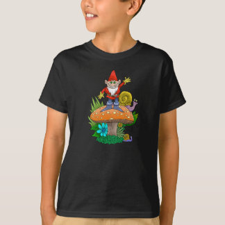 Cartoon illustration of a standing waving gnome. T-Shirt