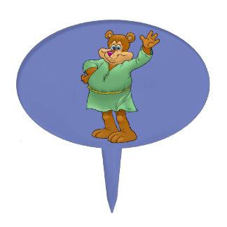 Cartoon illustration of a waving bear. cake topper