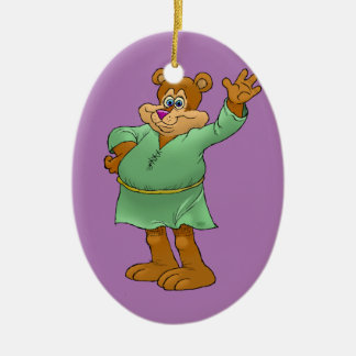 Cartoon illustration of a waving bear. ceramic ornament
