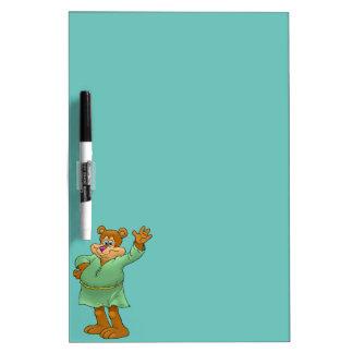 Cartoon illustration of a waving bear. Dry-Erase board