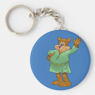 Cartoon illustration of a waving bear. keychain