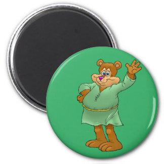 Cartoon illustration of a waving bear. magnet