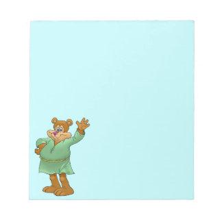 Cartoon illustration of a waving bear. notepad
