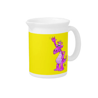 Cartoon illustration of a waving purple dragon. beverage pitchers