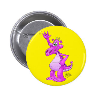 Cartoon illustration of a waving purple dragon. button