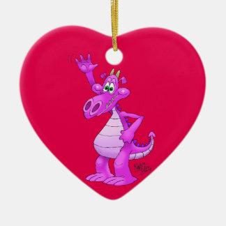 Cartoon illustration of a waving purple dragon. ceramic ornament