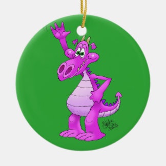 Cartoon illustration of a waving purple dragon. ceramic ornament