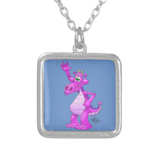 Cartoon illustration of a waving purple dragon. silver plated necklace