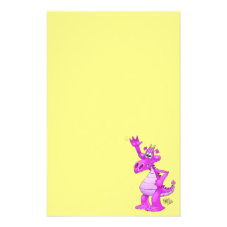 Cartoon illustration of a waving purple dragon. stationery
