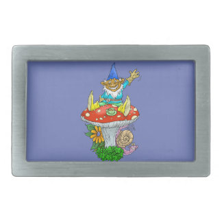 Cartoon illustration of a Waving sitting gnome. Belt Buckle