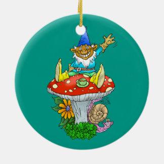 Cartoon illustration of a Waving sitting gnome. Ceramic Ornament
