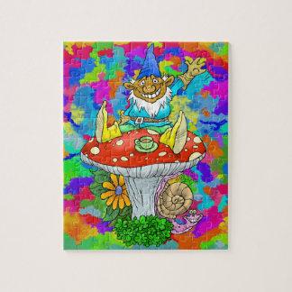 Cartoon illustration of a Waving sitting gnome. Jigsaw Puzzle