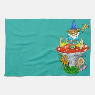 Cartoon illustration of a Waving sitting gnome. Kitchen Towel