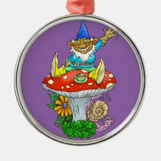 Cartoon illustration of a Waving sitting gnome. Metal Ornament