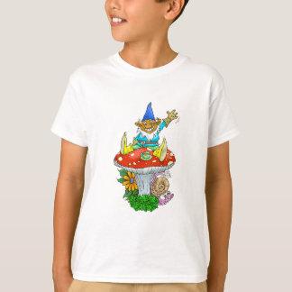 Cartoon illustration of a Waving sitting gnome. T-Shirt