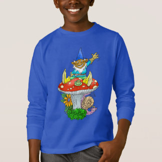 Cartoon illustration of a Waving sitting gnome. T-Shirt