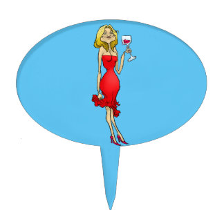 Cartoon illustration of a woman in a red dress. cake topper