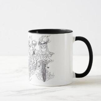 Cartoon illustration of dirt bikers, mug. mug