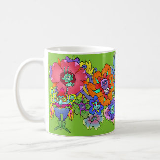 Cartoon illustration of flowers and insects, mugs. coffee mug