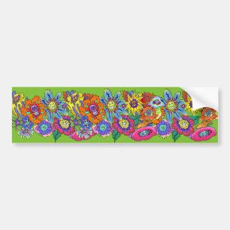 Cartoon illustration of flowers, bumper sticker. bumper sticker