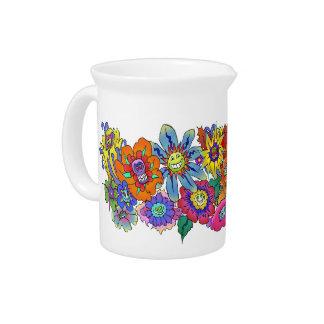 Cartoon illustration of flowers, pitcher. pitcher