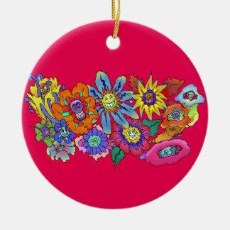 Cartoon illustration of flowers, round decoration. ceramic ornament