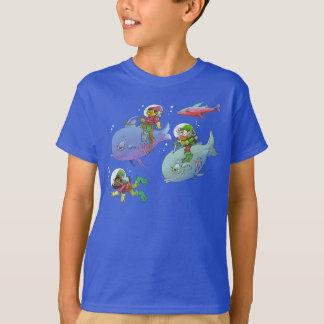 Cartoon illustration of gnomes riding fish, tees. T-Shirt