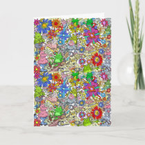 Cartoon illustration, of pigs, flowers and frogs. holiday card
