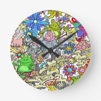 Cartoon illustration, of pigs, flowers and frogs. round clock